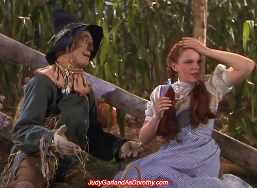 Judy Garland as Dorothy and the 'brainless' Scarecrow in the cornfield