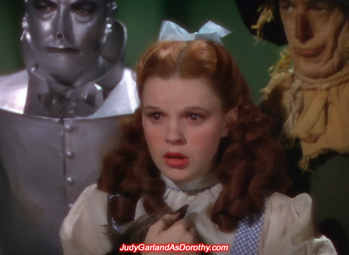 Judy Garland as Dorothy can't believe what she is seeing