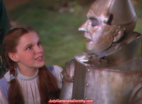 Judy Garland as Dorothy enjoyed the companionship with the Tin Man
